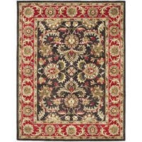 Safavieh Handmade Heritage Timeless Traditional Chocolate Brown/ Red Wool Rug - 7'6 x 9'6