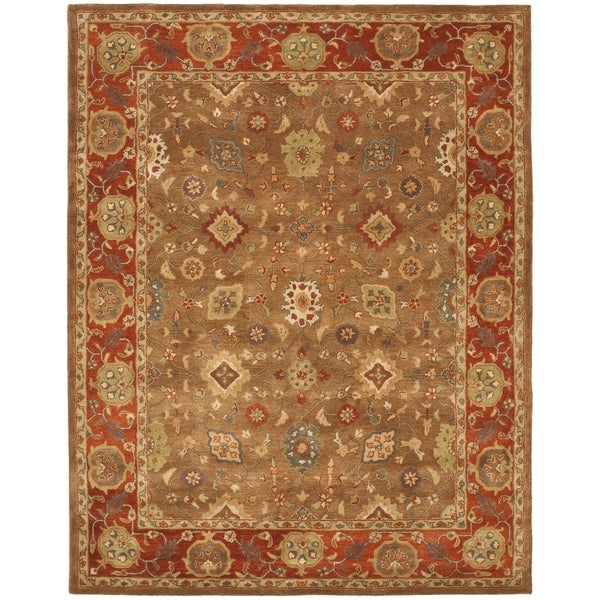 Safavieh Handmade Heritage Timeless Traditional Moss/ Rust Wool Rug (7'6 x 9'6)