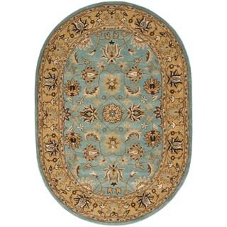 Safavieh Handmade Heritage Timeless Traditional Blue/ Gold Wool Rug (4'6 x 6'6 Oval)