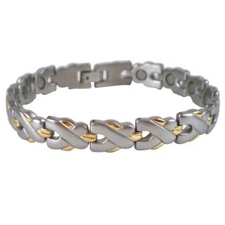Men's Magnetic Silvertone and Goldtone Stainless Steel MTX Bracelet