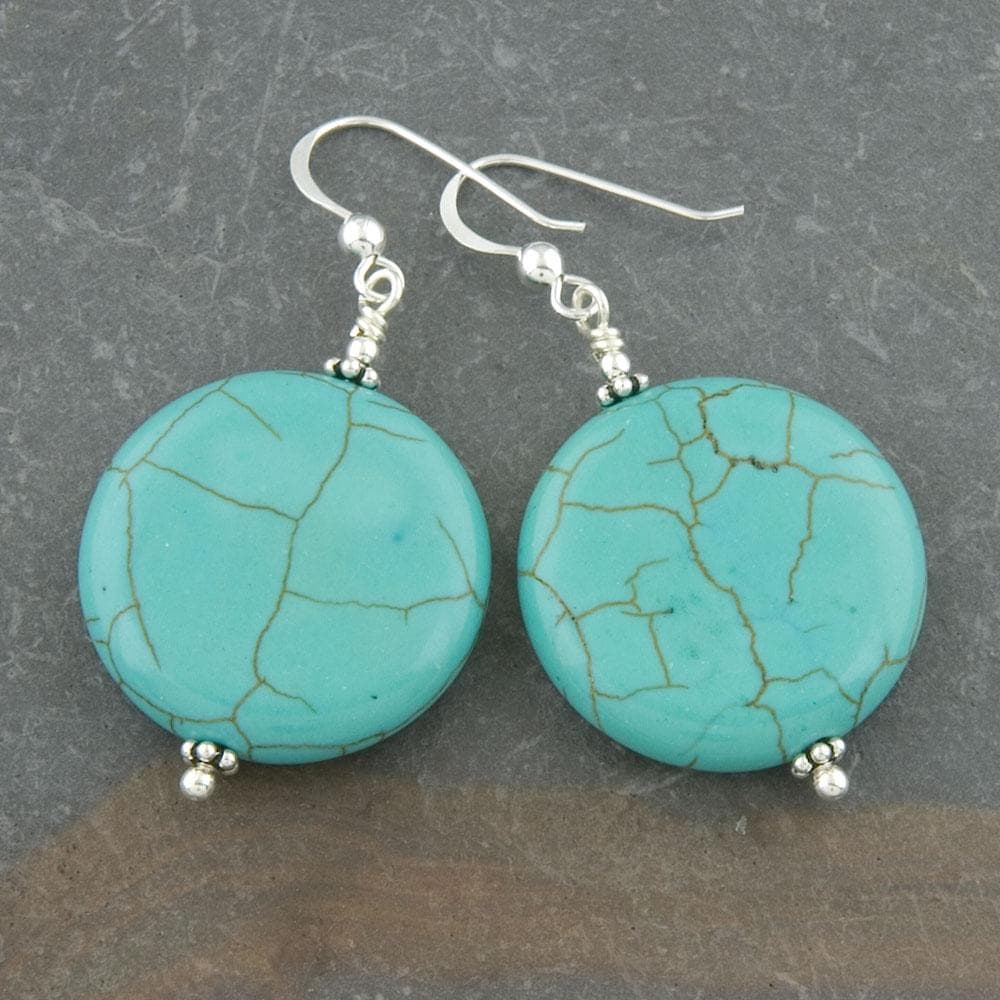 Sterling Silver Reconstructed Turquoise Disc Earrings (Thailand)