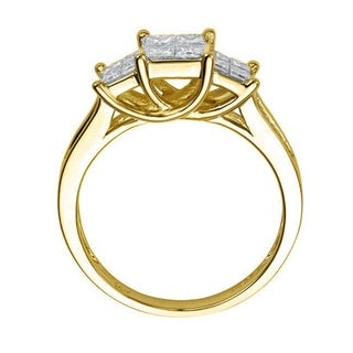 Montebello 14k Gold 1ct TDW Princess Diamond Ring (H-I, I1-I2)
