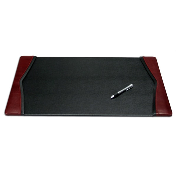 Dacasso Black and Burgundy Leather Desk Pad With Felt