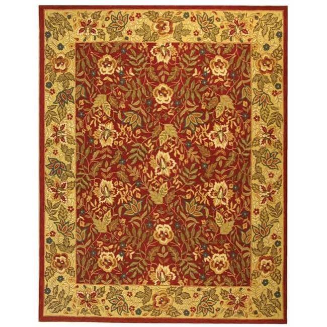 Safavieh Handmade Boitanical Red/ Ivory Wool Rug - 7'9 x 9'9