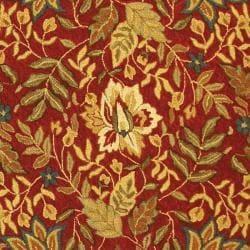 Safavieh Handmade Boitanical Red/ Ivory Wool Rug (7'9 x 9'9) - Thumbnail 2