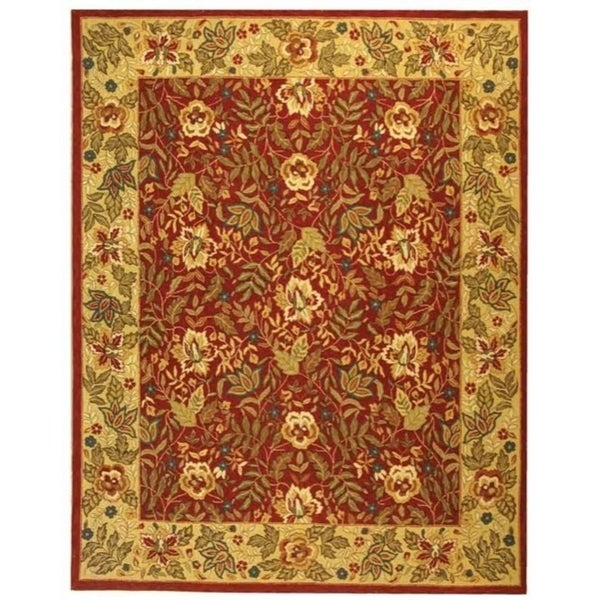 "Safavieh Handmade Boitanical Red/ Ivory Wool Rug - 7'9"" x 9'9"""