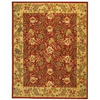 Safavieh Handmade Boitanical Red/ Ivory Wool Rug (8'9 x 11'9) - 8'9 X 11'9
