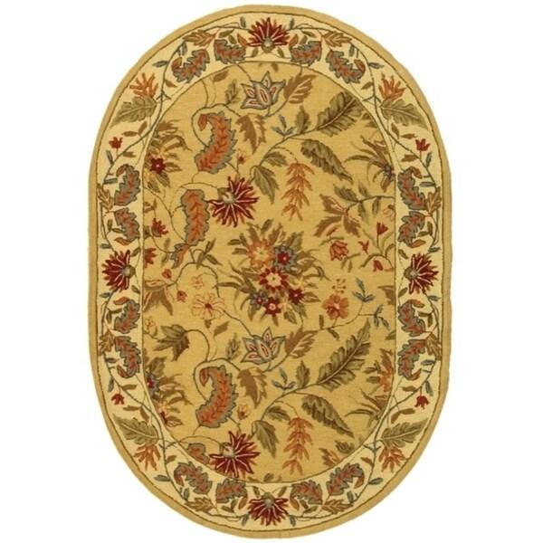 """Safavieh Handmade Paradise Ivory Wool Rug - 7'6"""" x 9'6"""" oval"""