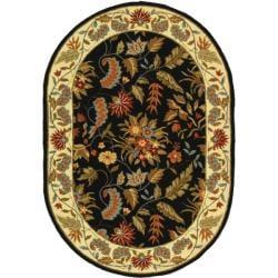 Safavieh Handmade Paradise Black Wool Rug (7'6 x 9'6 Oval)