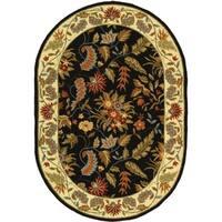 """Safavieh Handmade Paradise Black Wool Rug - 7'6"""" x 9'6"""" oval"""