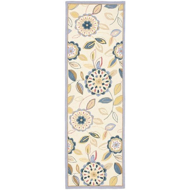 Safavieh Hand-hooked Floral Garden Ivory/ Blue Wool Rug (2'6 x 12')