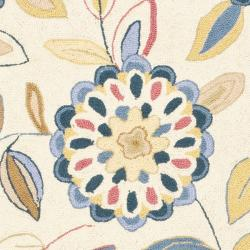 Safavieh Hand-hooked Floral Garden Ivory/ Blue Wool Rug (2'6 x 12') - Thumbnail 2
