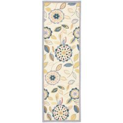 Safavieh Hand-hooked Floral Garden Ivory/ Blue Wool Rug (2'6 x 12') - Thumbnail 0