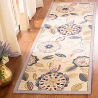 "Safavieh Hand-hooked Floral Garden Ivory/ Blue Wool Rug - 2'6"" x 12'"