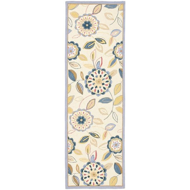 Safavieh Hand-hooked Chelsea Floral Garden Ivory/ Blue Wool Rug (2'6 x 4')