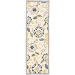 Safavieh Hand-hooked Chelsea Floral Garden Ivory/ Blue Wool Rug (2'6 x 8')