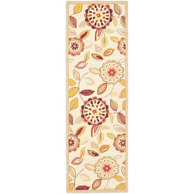 Safavieh Hand-hooked Chelsea Floral Garden Ivory/ Pink Wool Rug (2'6 x 8')