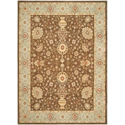 Safavieh Handmade Majesty Brown/ Light Blue N.Z. Wool Rug - 8' x 11'2 - Thumbnail 0