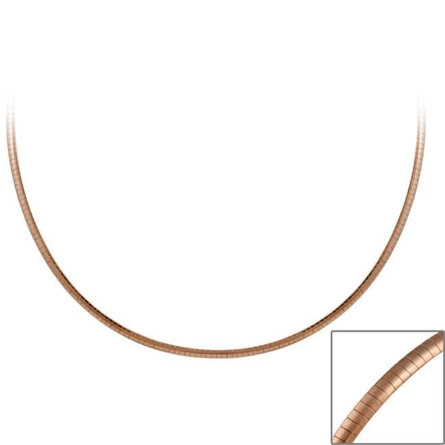 Mondevio Rose Gold over Sterling Silver 18-inch Italian Omega Necklace