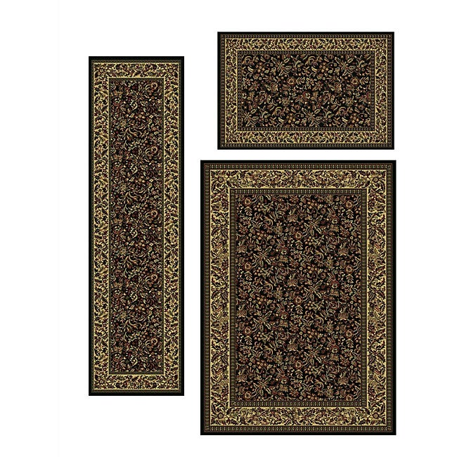 Admire Home Living Caroline Floral Rugs (Set of 3) - 5'5 x 7'7