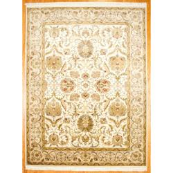 Herat Oriental Indo Hand-knotted Mahal Ivory/ Beige Wool Area Rug (9' x 12')