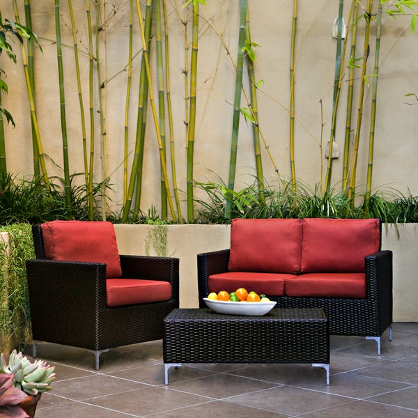 Handy Living Napa Springs Tulip Red 3 Piece Indoor/Outdoor Wicker Arm Chair, Loveseat and Table