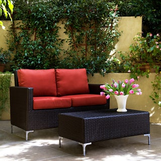 Handy Living Napa Springs Tulip Red 2 Piece Indoor/Outdoor Wicker Arm Loveseat and Table