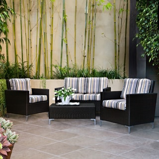 Handy Living Napa Springs Newport Stripe 4 Piece Indoor/Outdoor Wicker Arm Chairs, Loveseat and Table