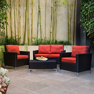 Handy Living Napa Springs Tulip Red 4 Piece Indoor/Outdoor Wicker Arm Chairs, Loveseat and Table
