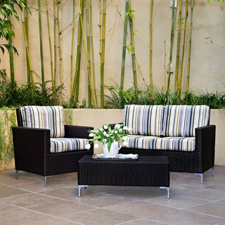 Handy Living Napa Springs Newport Stripe 3 Piece Indoor/Outdoor Wicker Arm Chair, Loveseat and Table