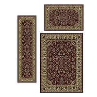 Admire Home Living Caroline Sarouk Burgundy/Green/Gold Traditional Oriental Floral Area Rugs (Set of 3)