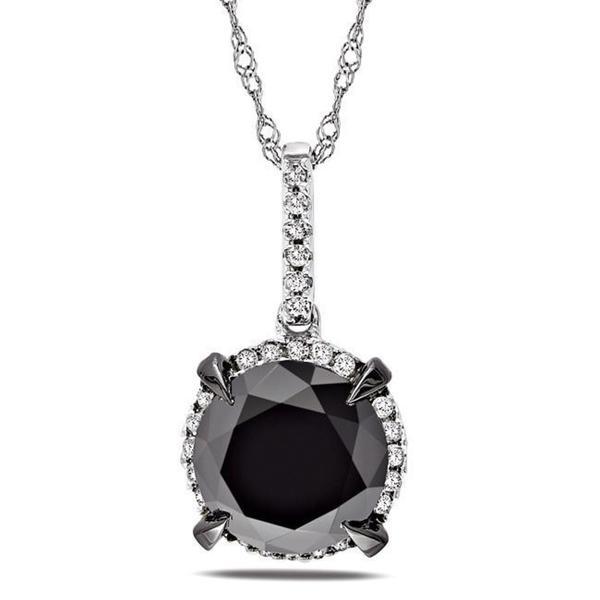 Miadora 10k White Gold 3 3/4ct TDW Black and White Diamond Halo Necklace