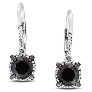 Miadora 10k White Gold 2 3/4ct TDW Black and White Diamond Halo Earrings