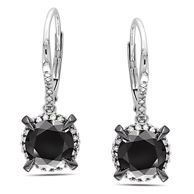 Miadora 10k White Gold 3 1/3ct TDW Black and White Diamond Earrings (G-H, I2-I3)