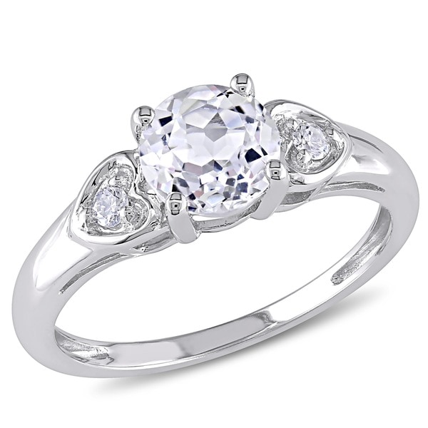 Miadora 10k White Gold White Topaz and Diamond Ring