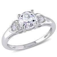 Miadora 10k White Gold White Topaz and Diamond Ring