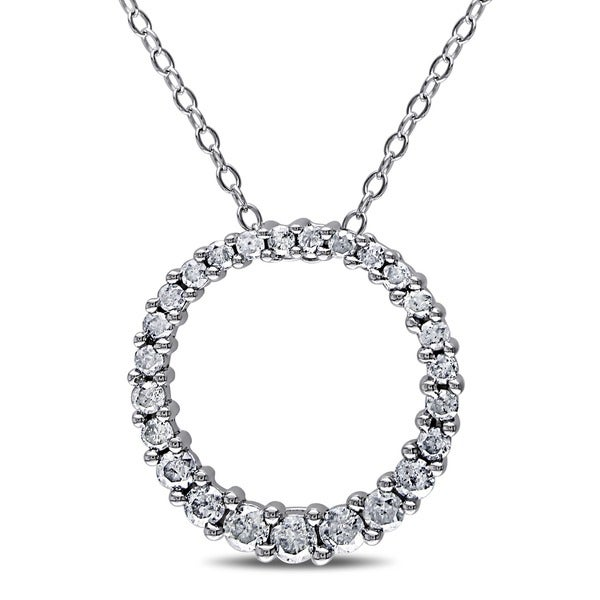 2f20d9c21 Miadora Sterling Silver 1/2ct TDW Diamond Open Circle Pendant Necklace