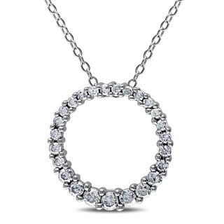 Miadora Sterling Silver 1/2ct TDW Diamond Open Circle Pendant Necklace