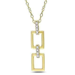 Miadora Yellow Silver Diamond Accent Link Design Necklace