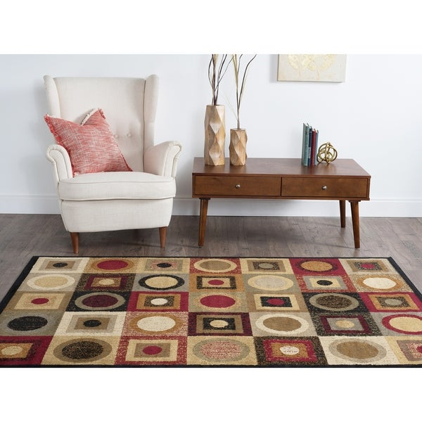 Alise Ivory/ Multi Abstract Area Rug (7'6 x 9'10) - 7'6 x 9'10