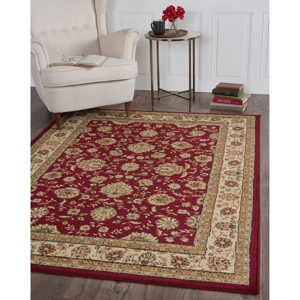 Alise Red and Ivory Abstract Area Rug - 7'6 x 9'10