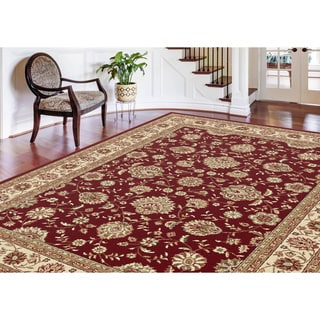 Alise Red and Ivory Abstract Area Rug (7'6 x 9'10)