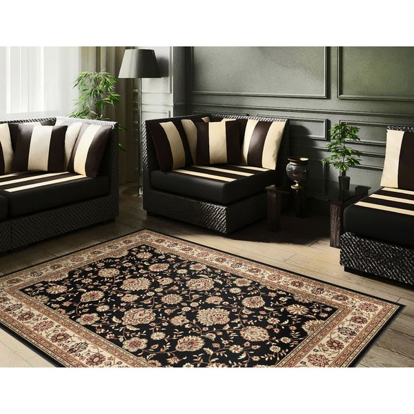 Alise Multi Collection Black Area Rug (7'6 x 9'10)