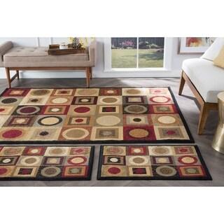 Alise Rugs Rhythm Traditional Area Rug 3-Piece Set - 1'8 x 5'/1'8 x 2'8/5' x 7'