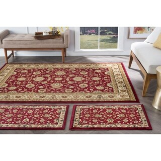 Alise Multi Collection Set of Three Burgundy Oriental Area Rugs Set - 1'8 x 5'/1'8 x 2'8/5' x 7'