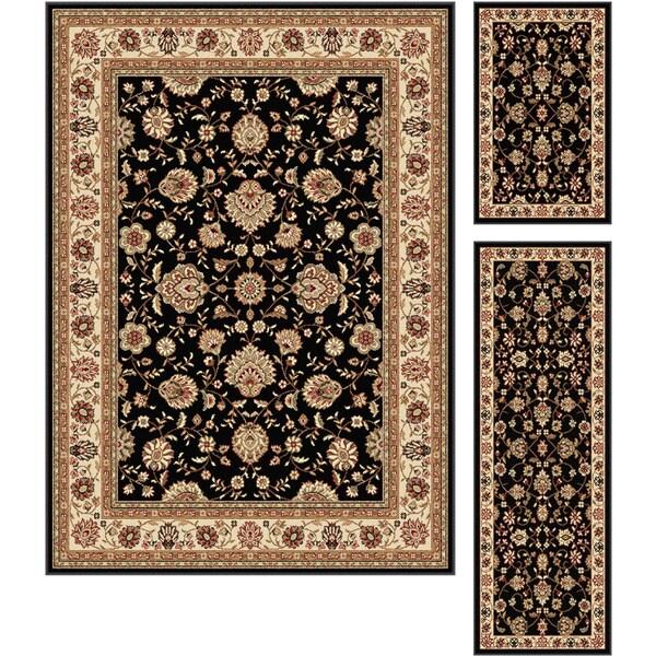 Alise Multi Collection Set of Three Black Oriental Area Rugs Set