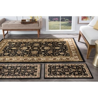 Alise Multi Collection Set of Three Black Oriental Area Rugs Set - 1'8 x 5'/1'8 x 2'8/5' x 7'