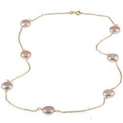 Gold over Silver Pink Freshwater Coin Pearl Tin Cup Necklace (9-10 mm)