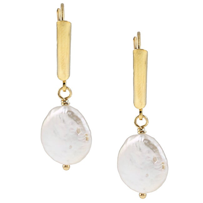 DaVonna 14k Gold over Silver White FW Coin Pearl Earrings...