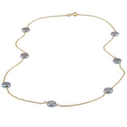 Gold over Silver Grey Freshwater Coin Pearl Tin Cup Necklace (9-10 mm)